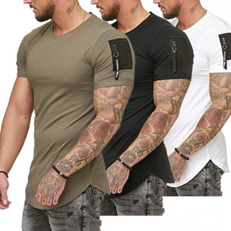 Short Sleeve Zipper Shoulder Streetwear Hip Hop Summer T Shirt Men Longline Curved Hem Tshirt Slim Funny T-Shirt Plus Size M-3XL