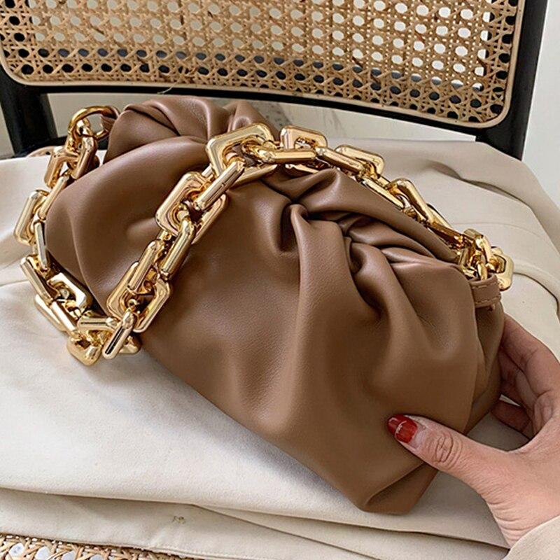 Luxurious Acrylic chain Women Handbag 2020 Summer bag shoulder cloud bag high quality chain underarm bag shoulder bag white
