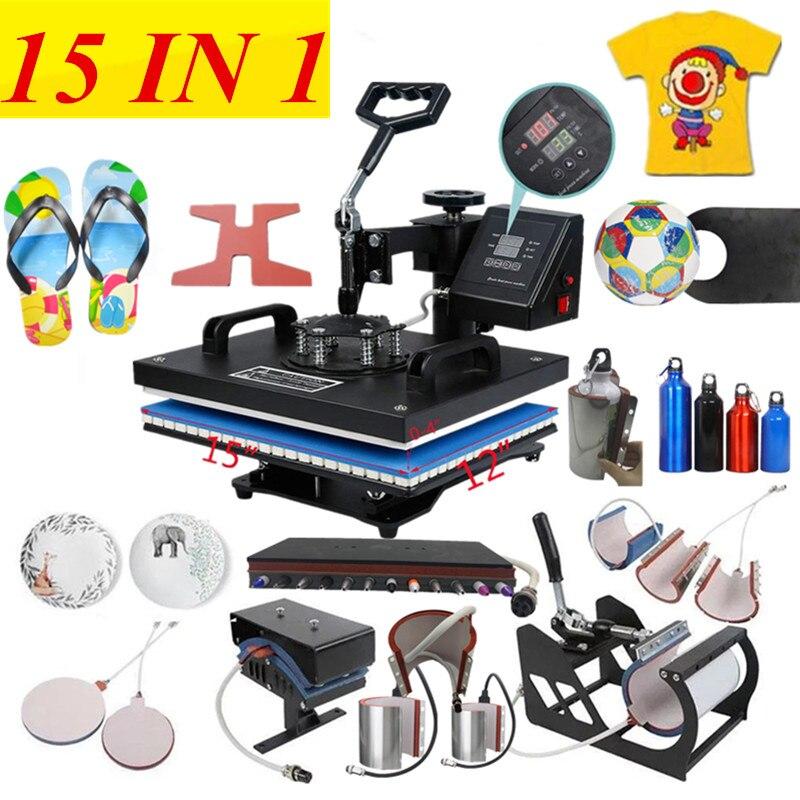 15 все в 1 машина для термопечати, машина для сублимации ручки, машина для передачи тепла для шаров/обуви/кепок/кружек/футболок/чехлов