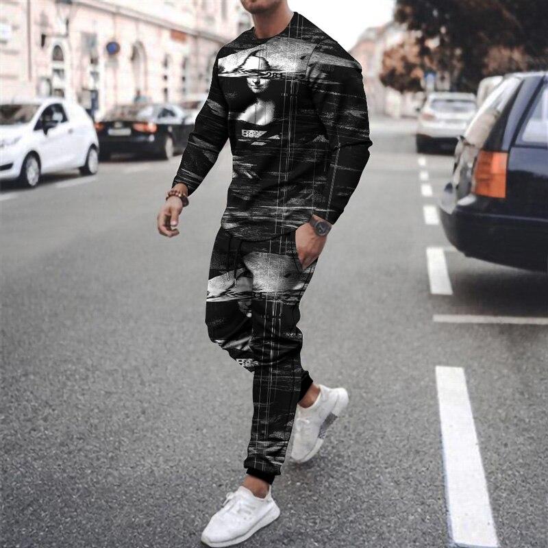 Новинка 2021, Мужская модная футболка и брюки, мужская повседневная спортивная одежда для бега и фитнеса, костюм для бега