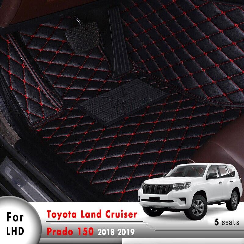 Alfombra de cuero para carro Interior accesorios para automóviles alfombrillas para coche Toyota Land Cruiser Prado 150 2018 2019 5 asientos