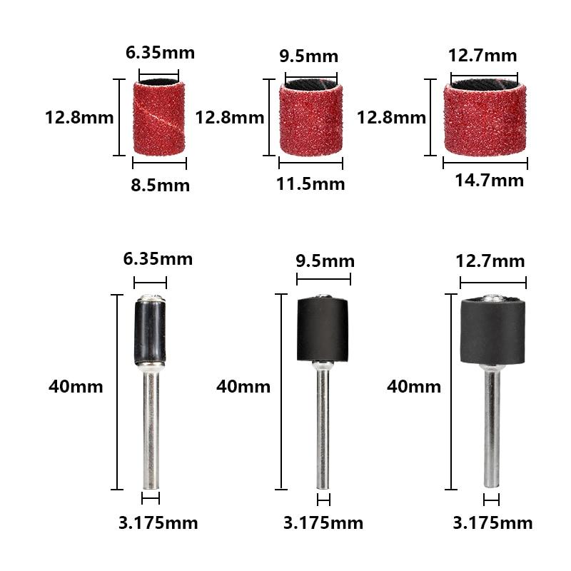 102 pezzi 1/4 3/8 1/2 pollici set tamburo levigatura con mandrini - Utensili abrasivi - Fotografia 2