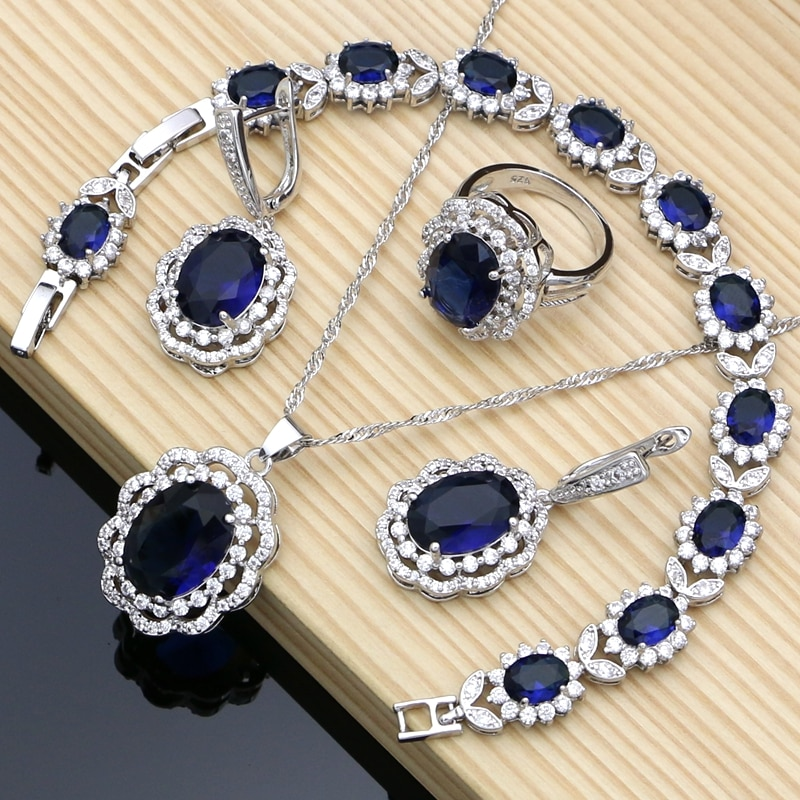 Bohemia Silver 925 Bridal Jewelry Sets Blue Stone Costume Jewelry Kits Jewelry For Women Bracelet Set Earrings and Ring Fashion 925 sterling silver opal stone wedding bridal jewelry sets earrings for women costume jewelry pendant necklace ring set gift box