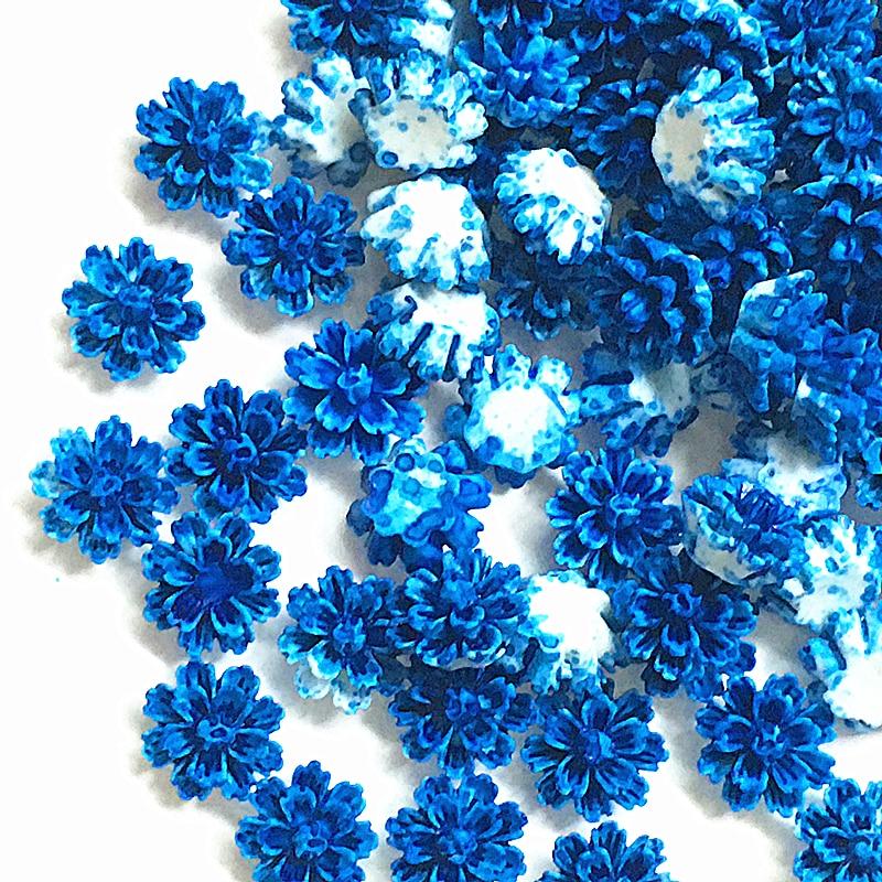 100Pcs 12*13mm Tiefe blau Harz Blumen Dekorationen Handwerk Flatback Cabochon Für Scrapbooking Diy Zubehör