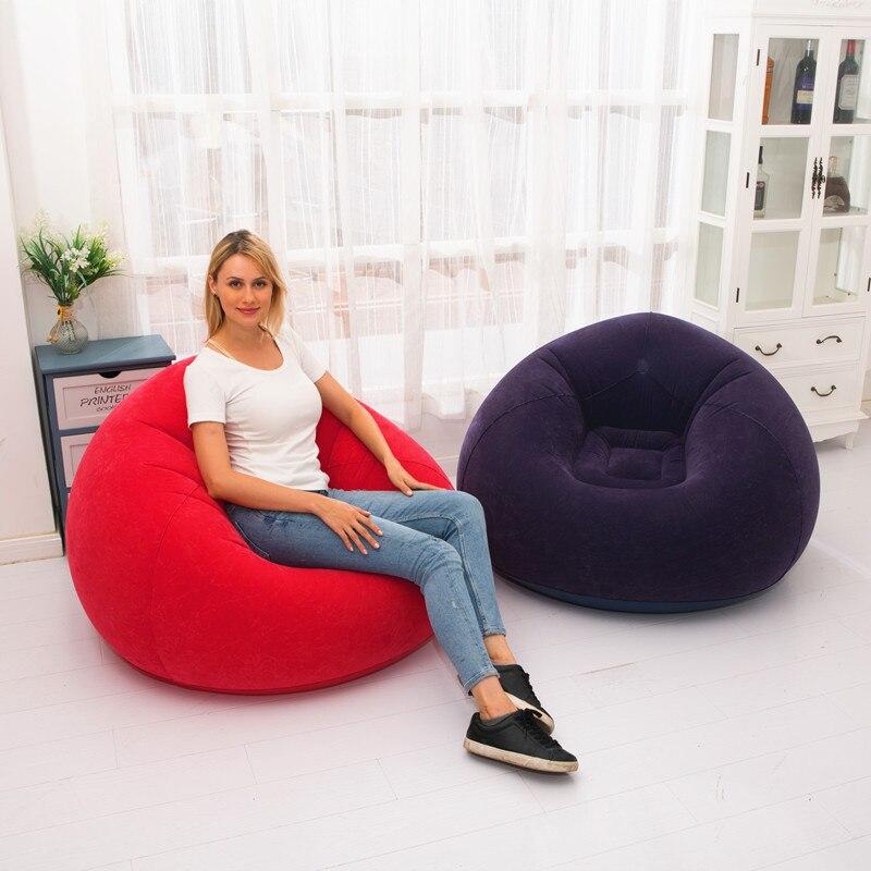 Sofá inflable flocado para perezosos, pequeño sofá familiar individual para el hogar,...