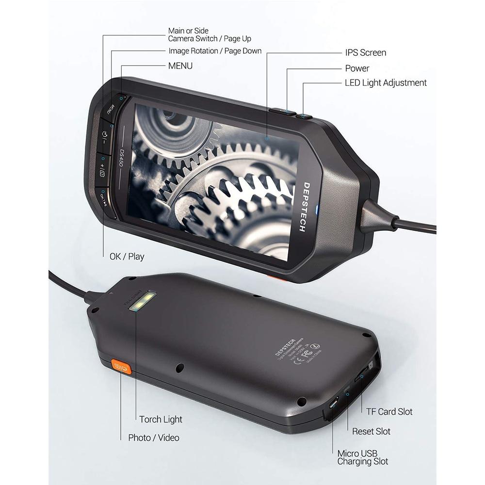 2.0MP 5.0MP Wireless Endoscope Industrial Borescope with 4.5in IPS Screen Waterproof Inspection Camera Semi-Rigid Snake Camera