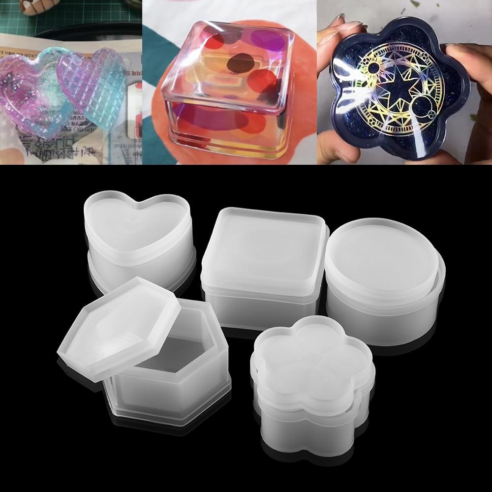 Круглая коробка для хранения в форме сердца, силиконовые формы, кристальная квадратная эпоксидная смола, форма, коробка для брелоков для по...