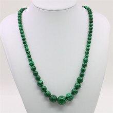 6-14mm vert Gorgouese Malachite pierre ronde perles collier mode perle bijoux corde chaîne collier perles perles pierre naturelle