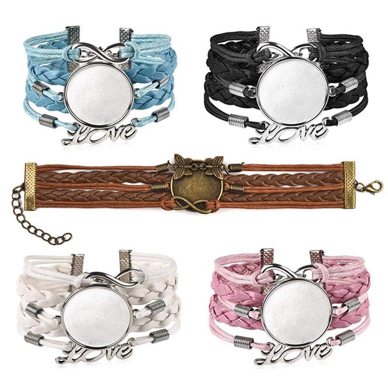 5 шт., кожаный браслет с натуральными камнями, браслет для женщин, пустая основа, подходит для 25 мм, стеклянный кабошон, ободок, лоток, сделай сам, ювелирное изделие