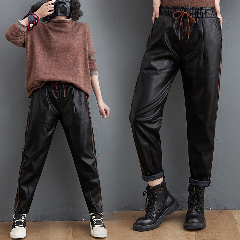 Leather Pants Women's Autumn and Winter 2020 New Loose Large Size Harem Pants Outer Wear PU Leather