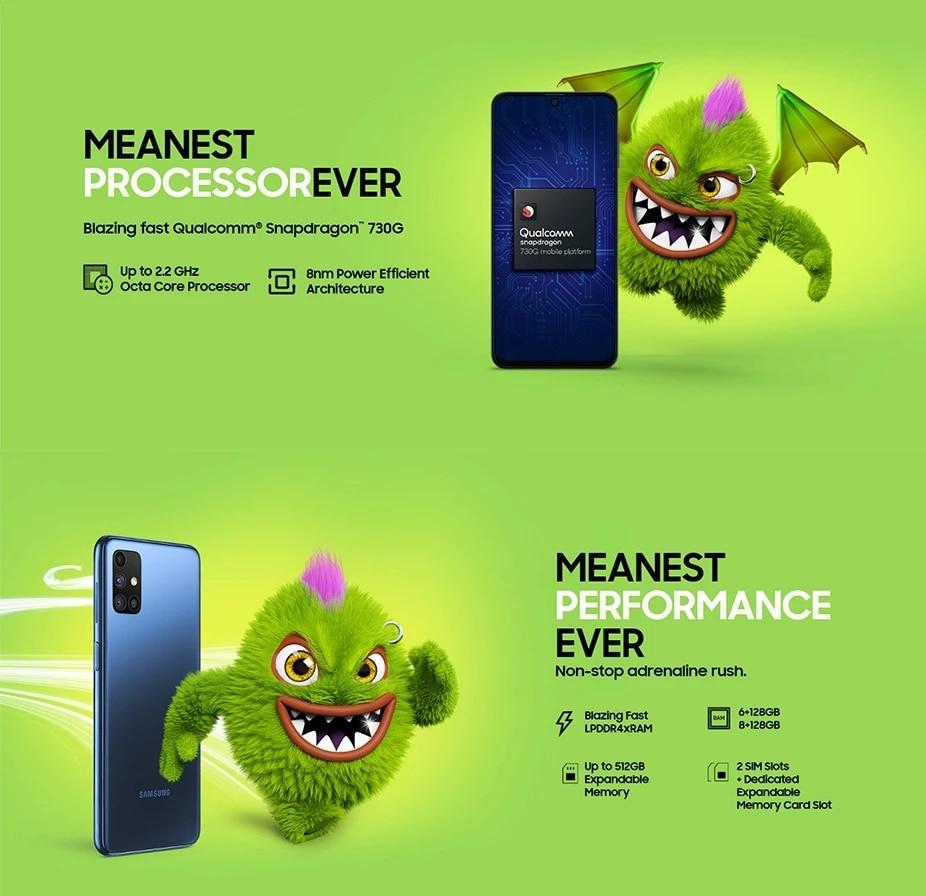 Фото3 - Оригинальный смартфон Samsung Galaxy M51 M515F-DSN глобальная версия 128 Гб ПЗУ 8 ГБ ОЗУ 6,7 дюйма 7000 мАч NFC Snapdragon 730G