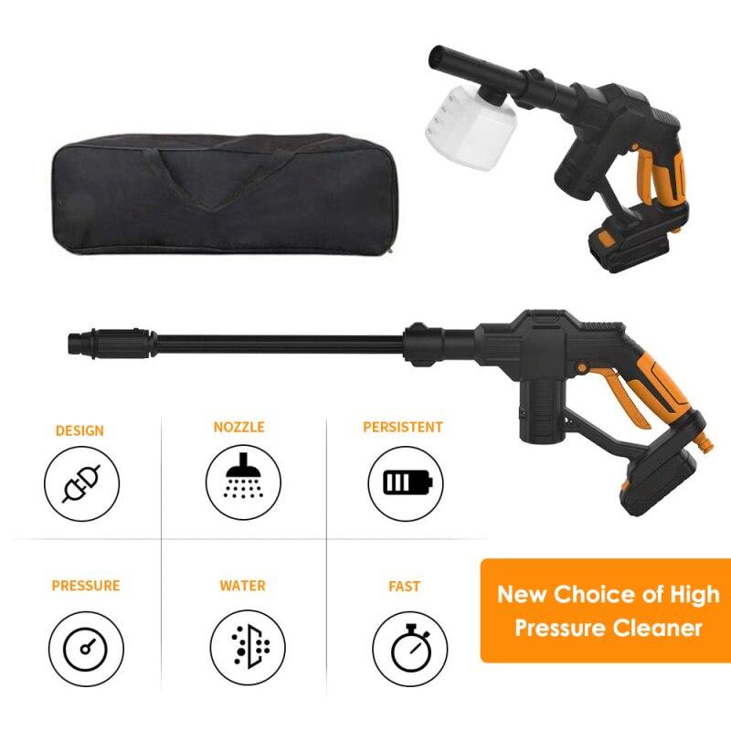 휴대용 자동차 세탁기 핸드 헬드 전기 고압 물총 20V 클리너 4 조절 노즐 충전기와 휴대용 핸드백