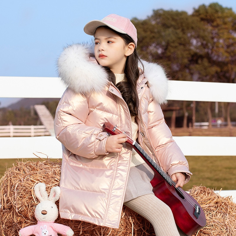 OLEKID 2021 معطف شتوي لامع للفتيات مع قلنسوة سميك دافئ للفتيات معطف شتوي للأطفال من سن 5 إلى 14 سنة ملابس خارجية للمراهقات