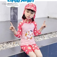 1 9 y girls two piece swimwear pink patchwork bears print kids long sleeve rash guard with sunny hat children swimsuit