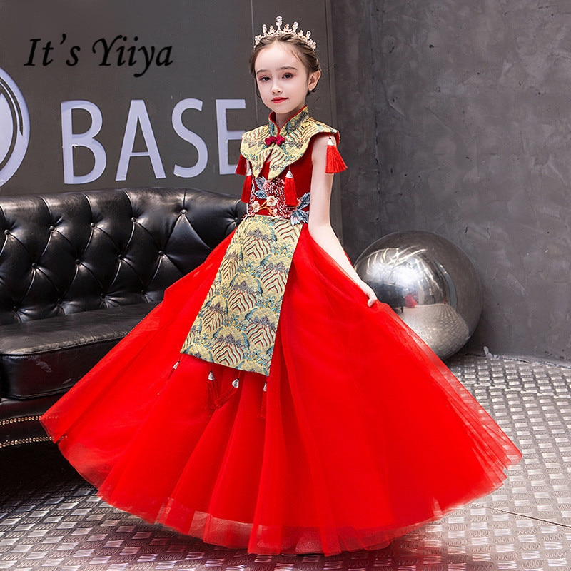 Red Flower Girls Dresses Its Yiiya B091 Vintage Embroidery Lace Pageant Long High Neck Tulle Shawl Girl Dress