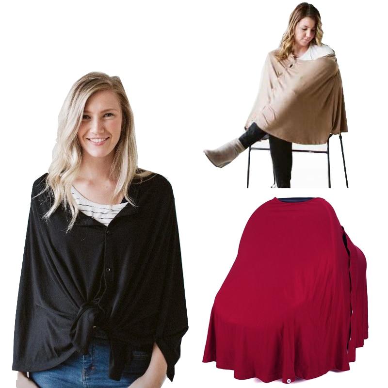 Накидка для кормления грудью, многофункциональное одеяло для кормления грудью, стильное пончо с пуговицами, эластичное детское автокресло,... недорого