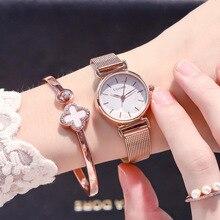 Mode or Rose dames montre Ins populaire élégant étanche femme Quartz montre-bracelet maille sangle Unique ciel étoilé conception horloge