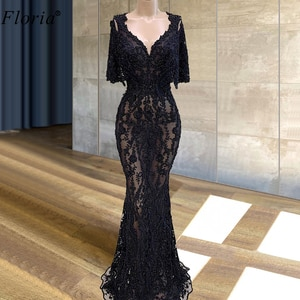 Plus Size Black Lace Prom Dresses Mermaid Illusion Beading Cocktail Dresses Sexy Evening Dresses Women Party Night Robe Longue