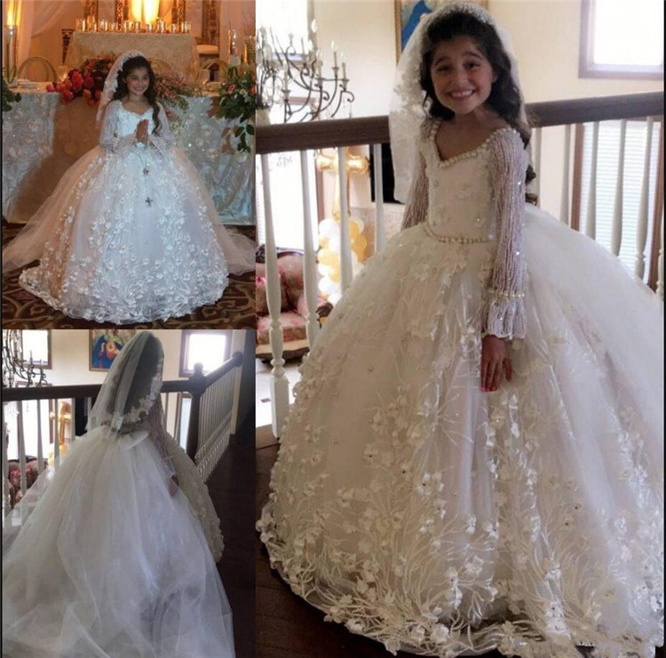 Luxury Flower Girl Dress for Wedding Floral Appliques Pears Waist Cute Girls Birthday Gowns Puffy Princess Ball Gowns Custom