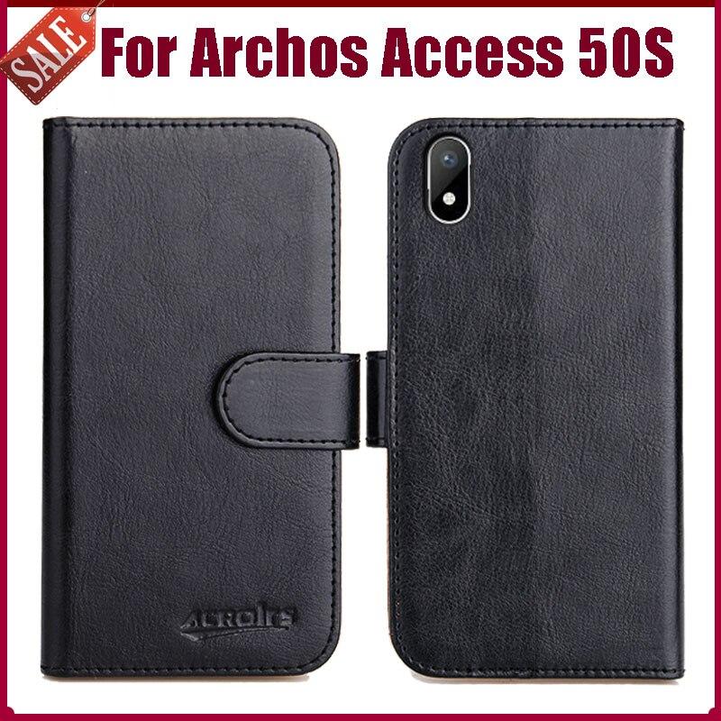 "Archos access 50 s caso 4.95 ""de alta qualidade 6 cores flip couro macio telefone carteira capa para archos access 50 s caso slots cartão"
