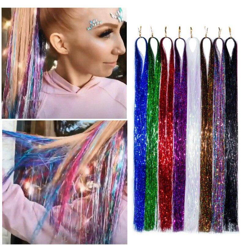 Sparkle Shiny Hair Tinsel Rainbow Silk Hair Extensions Dazzles Women Hippie for Braiding Headdress Long 100cm 120 Strands/bag