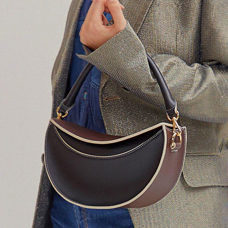 Vintage Half Moon Bag Leather Famous Luxury Brand Handbags Wide Strap Crossbody Bag Shoulder Bags For Women 2020 Torebki Damskie