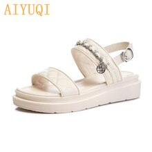 AIYUQI Genuine Leather Sandals Women 2021 New Summer Fish Mouth Fashion Women's Shoes Casual Beach S