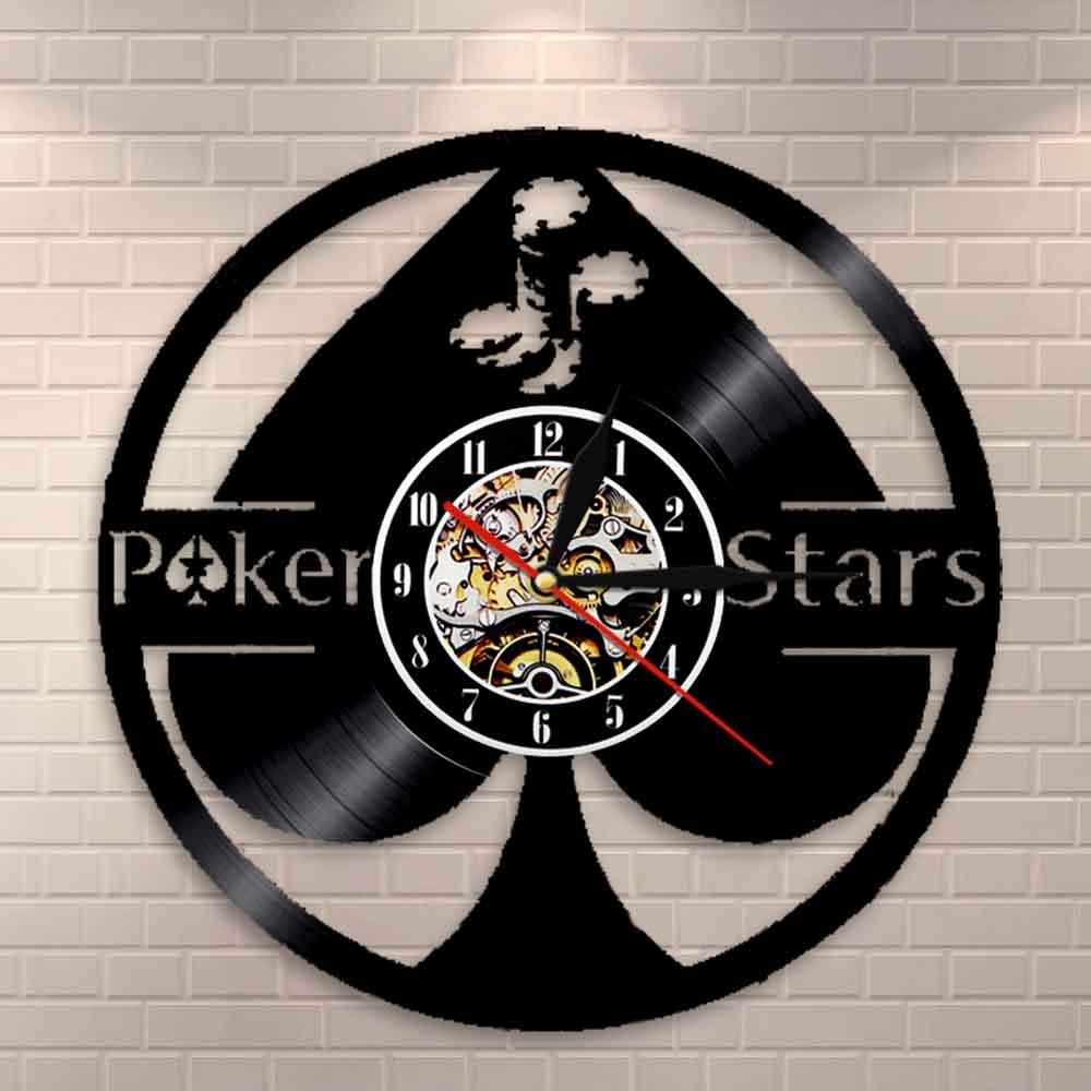 Lucky Poker Ace of Spades vinilo disco arte de pared 5 estrellas regalo estrella esta noche Reloj de pared jugador de póker vinilo reloj jugadores regalo