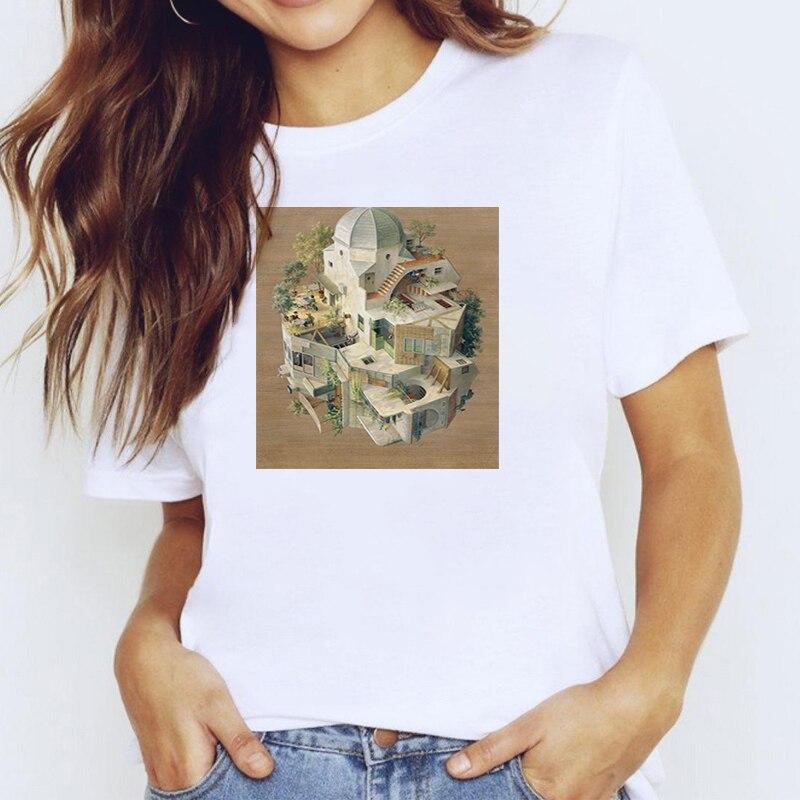 Художественные абстрактные футболки, рубашка с коротким рукавом, женская одежда, женская летняя футболка, одежда для топов с рукавами, белы...