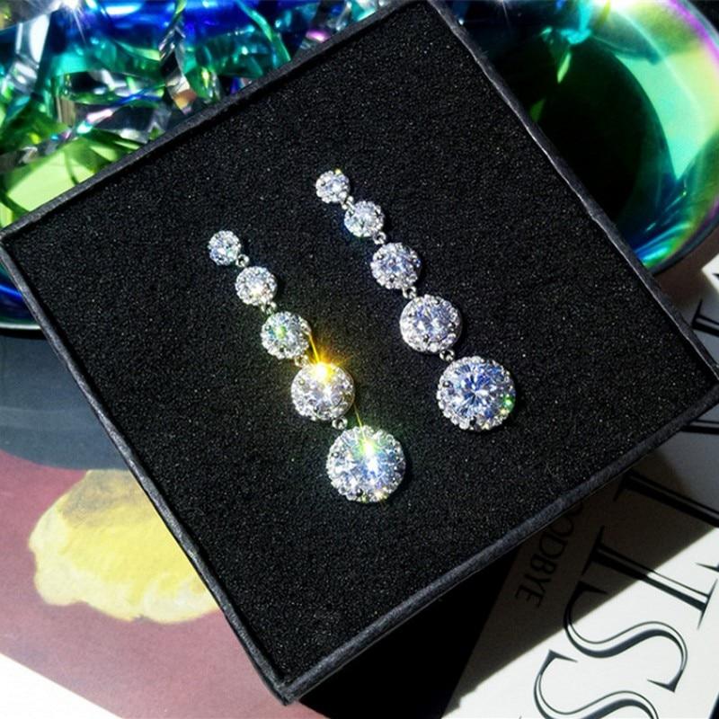 Charm Female Long 925 sterling silver Dangle Earring Dimaond Jewelry Statement Party Wedding Drop Earrings for Women Bridal