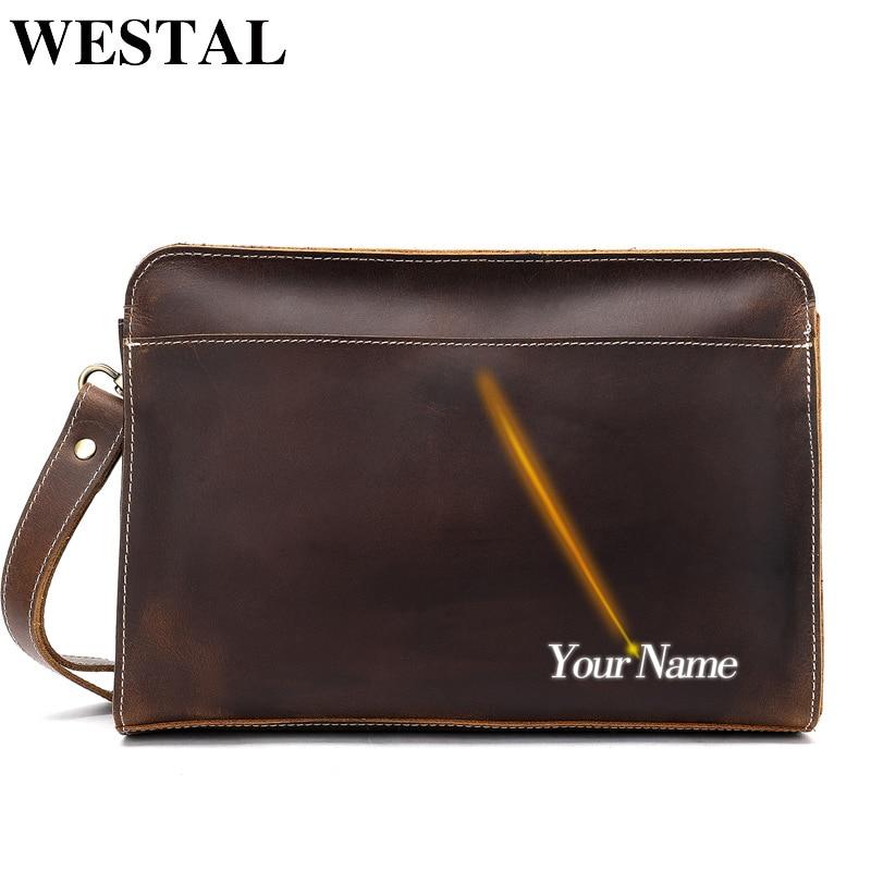 WESTAL Genuine Leather Men Clutch Wallet Men's Clutch Bag For Men Hand Long Wallets Man With Zipper Vintage Wallets For Phone недорого