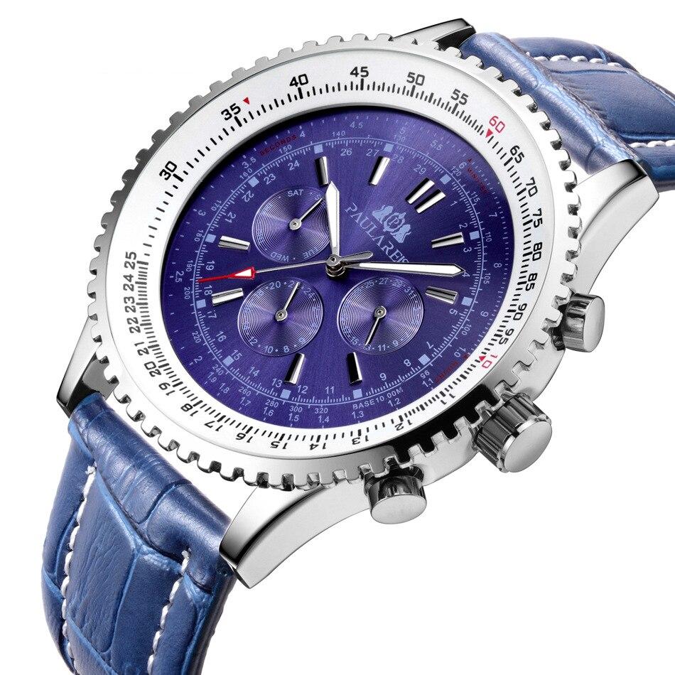 Topo de Luxo Relógio de Pulso à Prova Masculino Relógios Mecânicos Automáticos Azul Couro Genuíno Relógio Esportivo Marca Calendário Dwaterproof Água