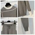 Womans ciepły kombinezon z dzianiny dres o-Neck sweter zestaw swetrów spodnie Plus rozmiar dzianiny strój sportowy jesień zima dwuczęściowy S