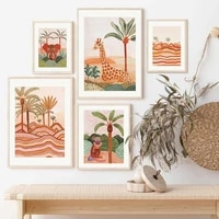 abstract boho elephant tiger giraffe palm wall art canvas painting nordic posters and prints wall pictures baby kids room decor