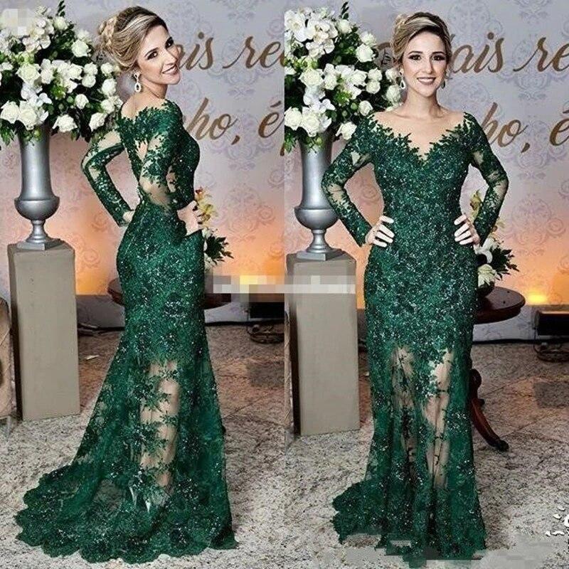 Green Mother Of The Bride Dresses Mermaid Long Sleeves Tulle Appliques Beaded Long Elegant Groom Mot