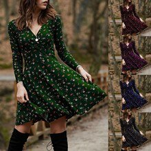 Women Dresses Summer 2021 Women V Neck Manches Long Sleeve Robe Female Retro Elegant Party Culb Dres