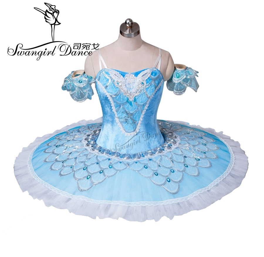 Traje de Ballet de pájaro borroso para adultos, tutú de Ballet clásico de belleza durmiente azul para niñas, tutú de panqueque profesional BT8928