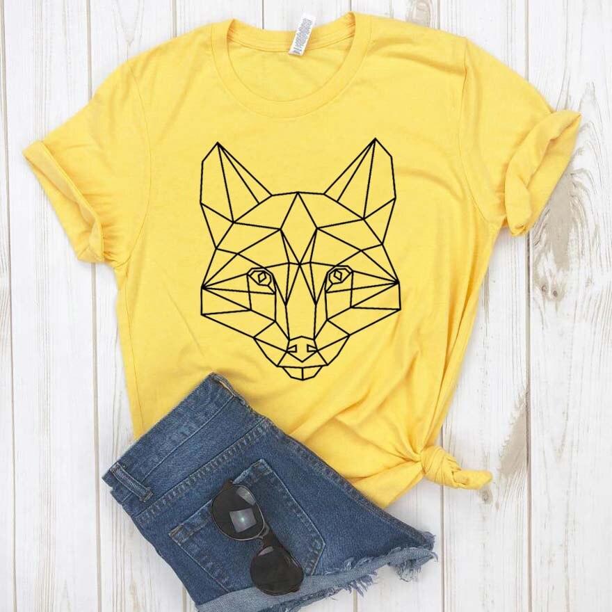 Camiseta Hipster divertida de regalo para chica Yong, camiseta geométrica impresa con zorros, camiseta para mujer, camisetas de Dropship para mujer