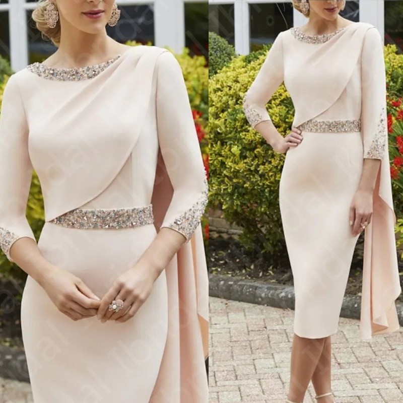 Charming Nude Pink Short Mother of the Bride Dresses Beaded Tea Length Wedding Party Dresses 3/4 Sle
