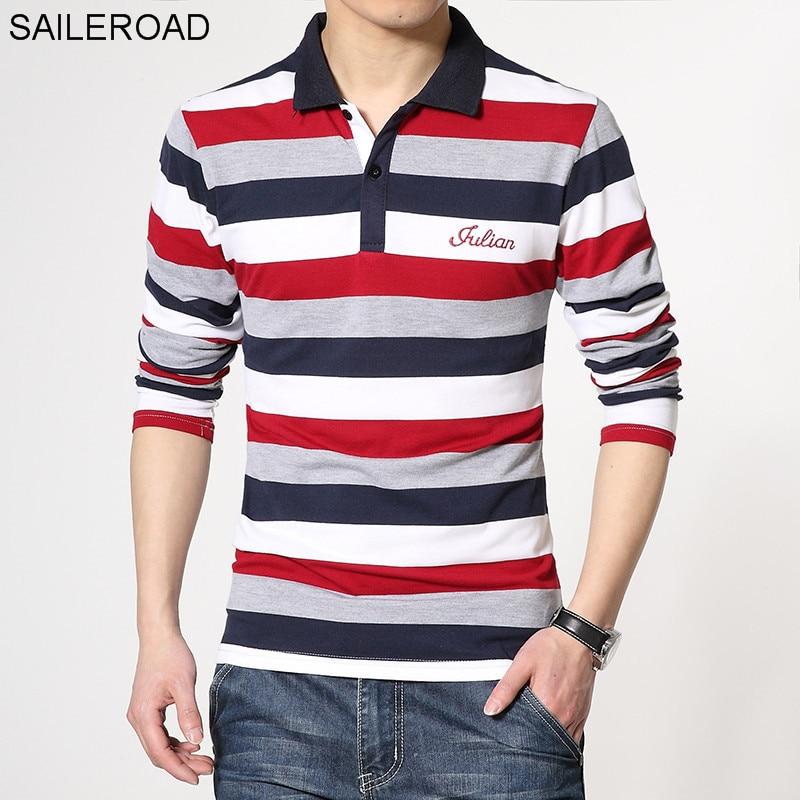 SAILEROAD, buena calidad, ropa de marca de talla grande para hombre, camiseta de manga larga bordada, Camiseta de algodón, camiseta informal para hombre
