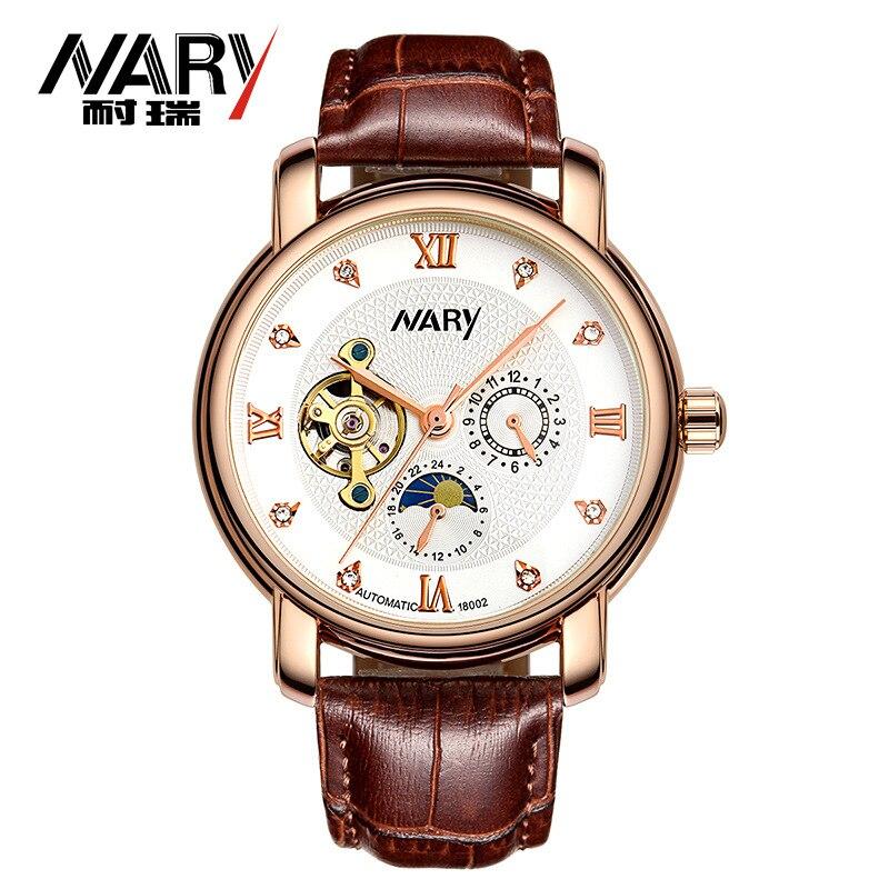 Мужские полностью автоматические механические часы деловая мода Полые Солнце Луна Звезда водонепроницаемые часы 18002