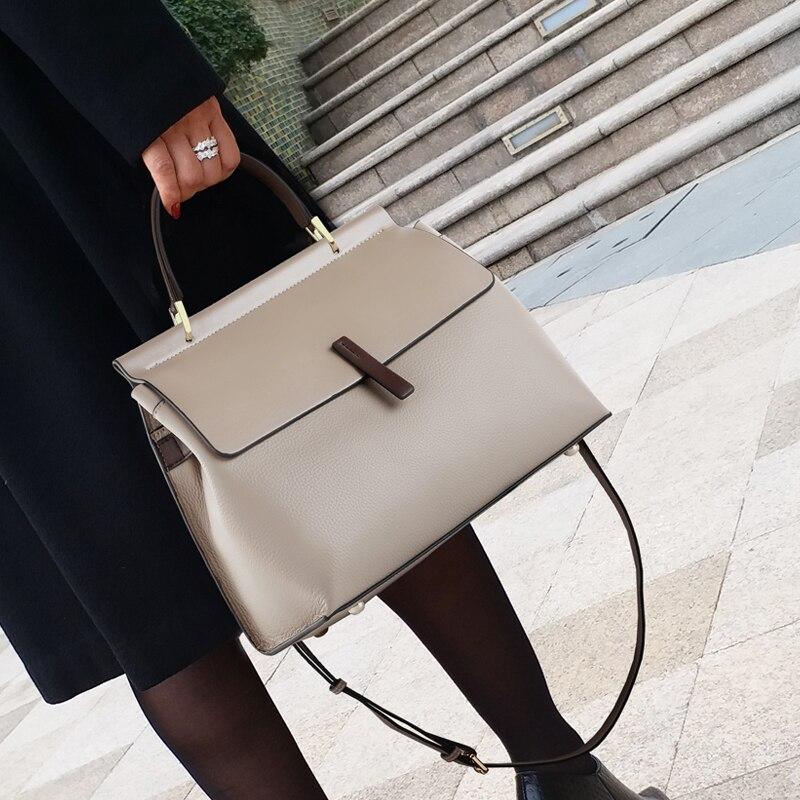 حقيبة جلد البقر الحقيقي 2021 جديدة ذات سعة كبيرة السيدات رسول حقيبة يد واحدة المحافظ وحقائب اليد الفاخرة مصمم Cc Gg