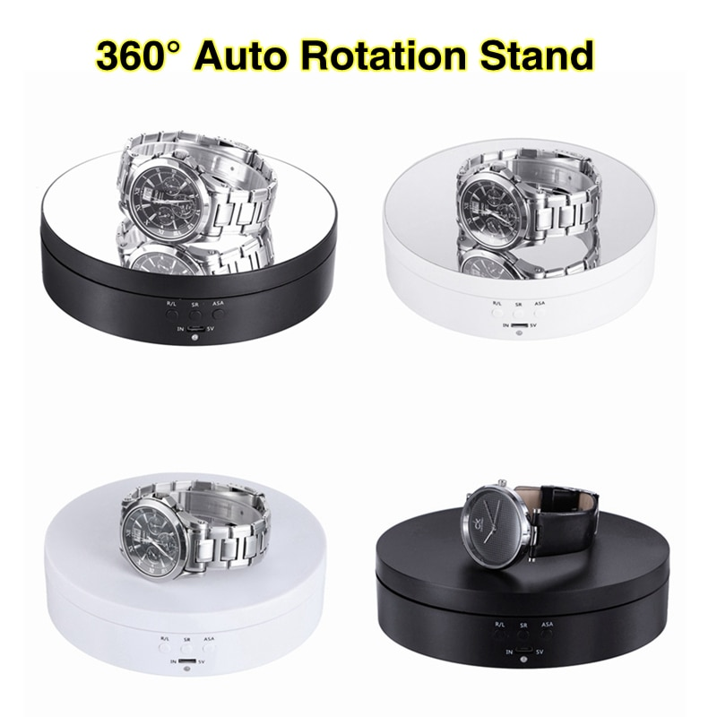 Photography 360 Degree Round Auto Rotating Remote Automatically Turntable Jewelry Display Stand Base