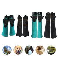 Перчатки для домашних животных, устойчивые к укусам перчатки, двухслойная кожаная поддерживающая подставка, обрезающие перчатки для собак ...