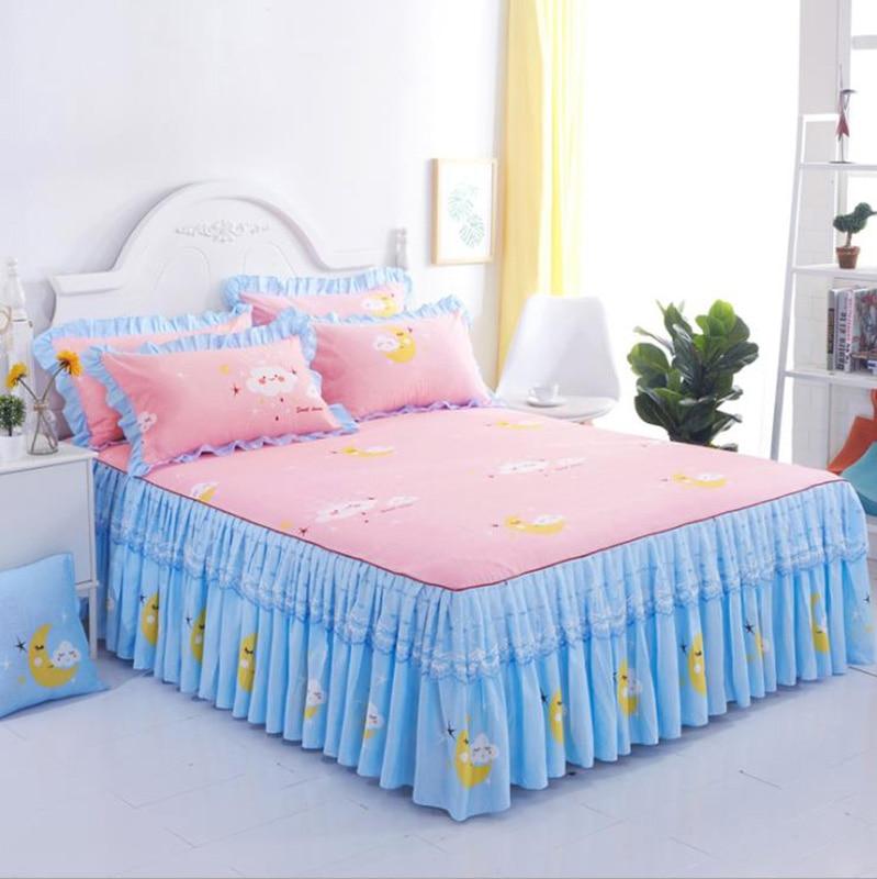 غطاء سرير من الدانتيل الكرتوني مع رسوم كرتونية ، منسوجات منزلية من قطن الألوة ، تنورة سرير ، مقاس كوين مزدوج