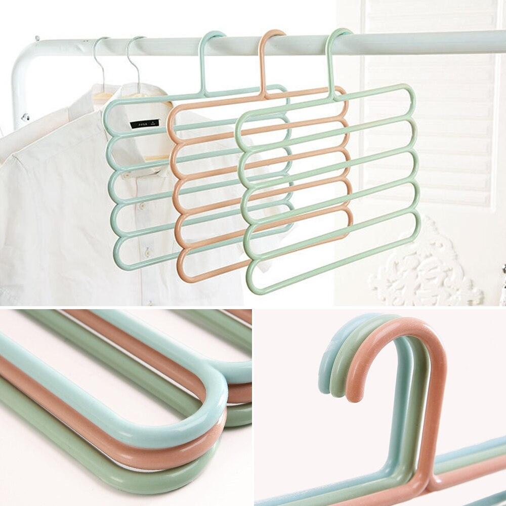 Colgadores de ropa multifuncionales antideslizantes de 5 capas, perchas de almacenamiento para pantalones, Perchero de tela para corbata y bufanda de almacenamiento multicapa