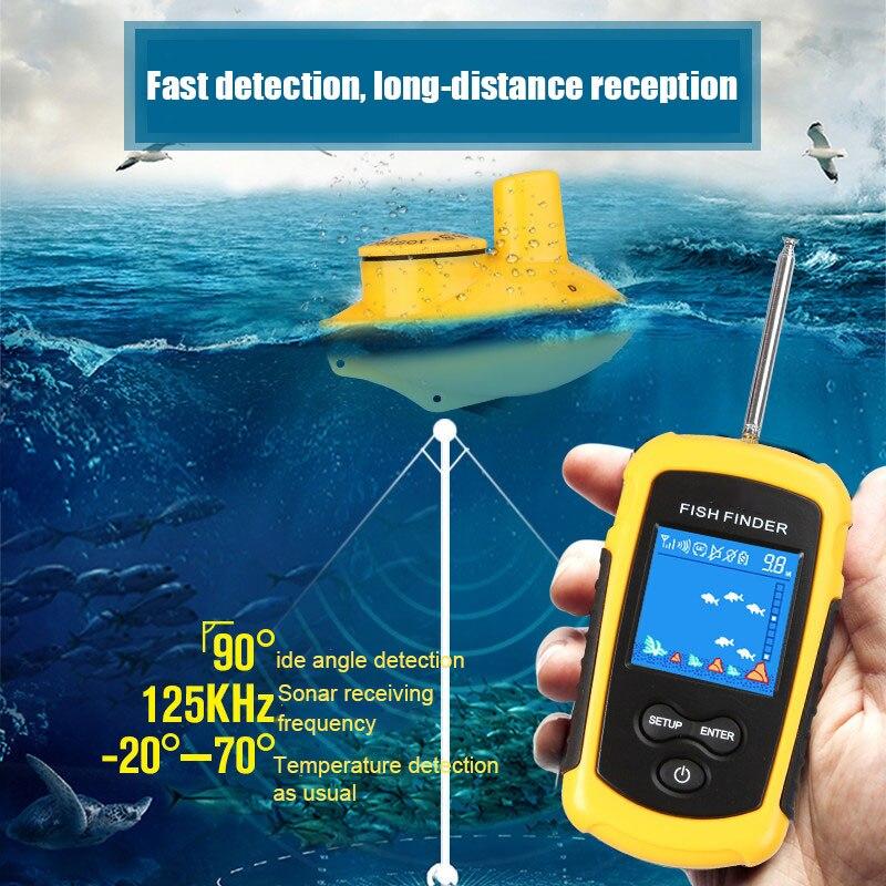 Oferta 2020, Sónar portátil de 100M, localizador de peces LCD, herramientas de pesca, Echosounder, buscador de pesca, ríos marinos o lago N66