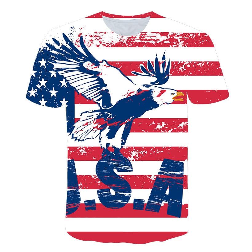 Camiseta informal con estampado 3d de águila americana para hombres, camiseta de manga corta con bandera Estados Unidos, camiseta Hip Hop para hombres y mujeres, camiseta con Águila, camiseta Dropship