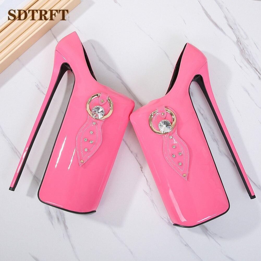 SDTRFT uniforme Stilettos plataformas 30cm Ultra altos tacones finos zapatos de diamante mujer Crossdresser boda bombas tamaño grande 35-45 46