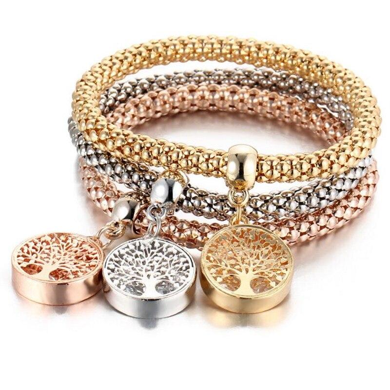 DIEZI Vintage Designer Rhinestones Gold color Tree of Life Charm Bracelets Popcorn Chain Jewelry For Women 2018 New Fashion